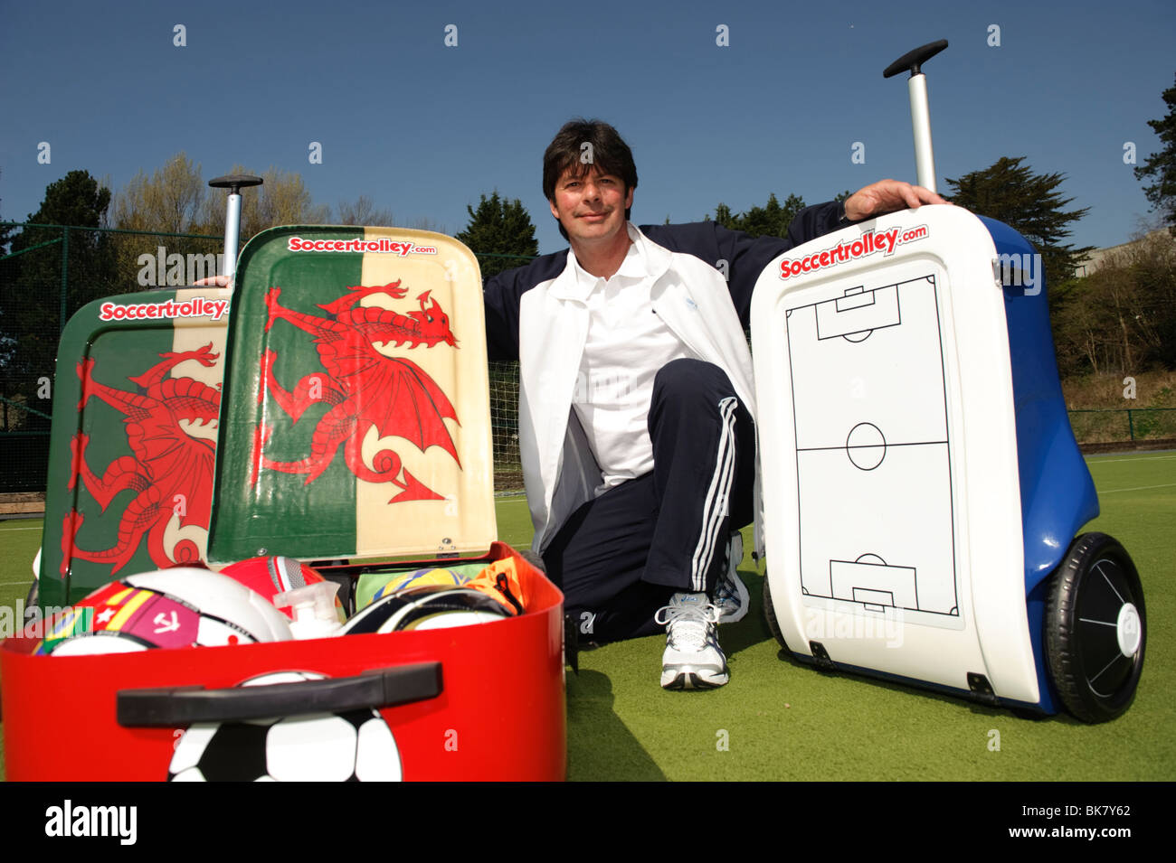 Former professional footballer Lee Jenkins with his innovative SoccerTrolley, designed to hold 6 footballs, Wales - Stock Image