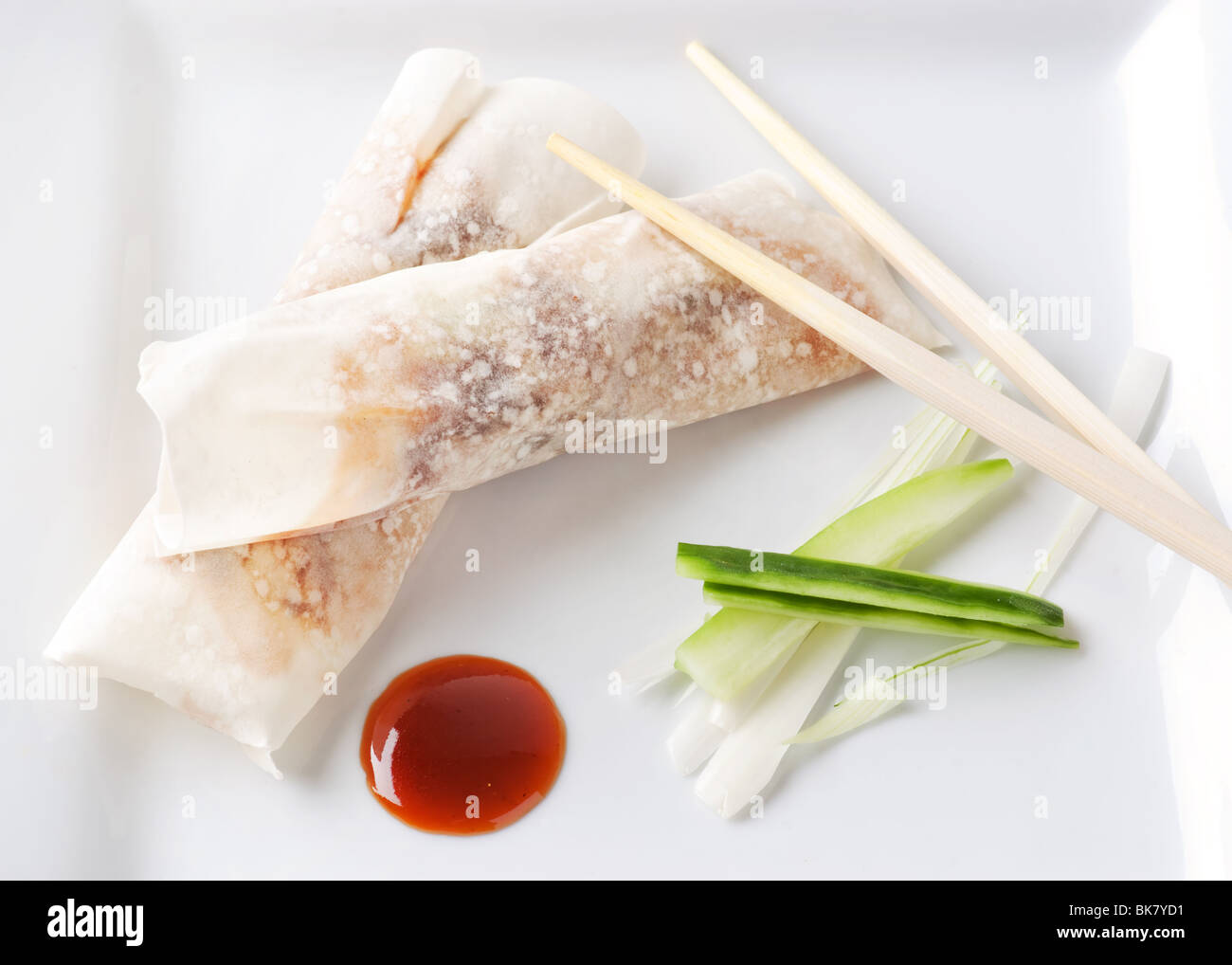 Crispy Duck rolls with Hoisin sauce and spring onions - Stock Image