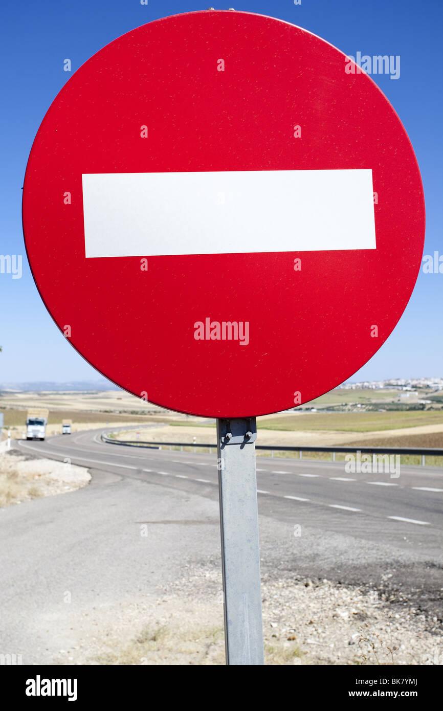 wrong way traffic sign - Stock Image