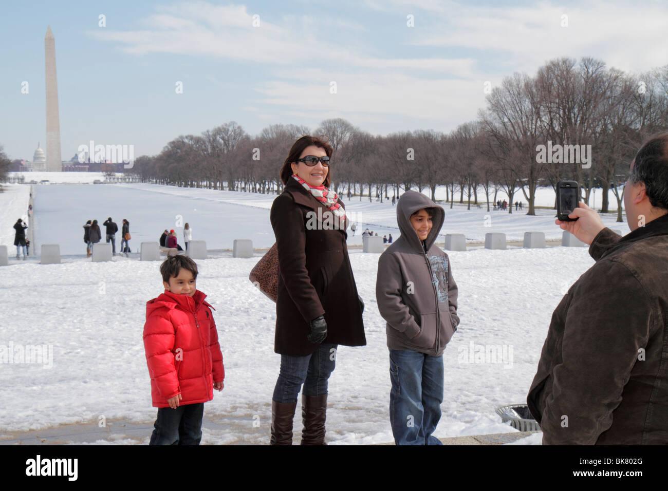 Washington DC West Potomac Park National Mall and Memorial Parks The Reflecting Pool Washington Monument history - Stock Image