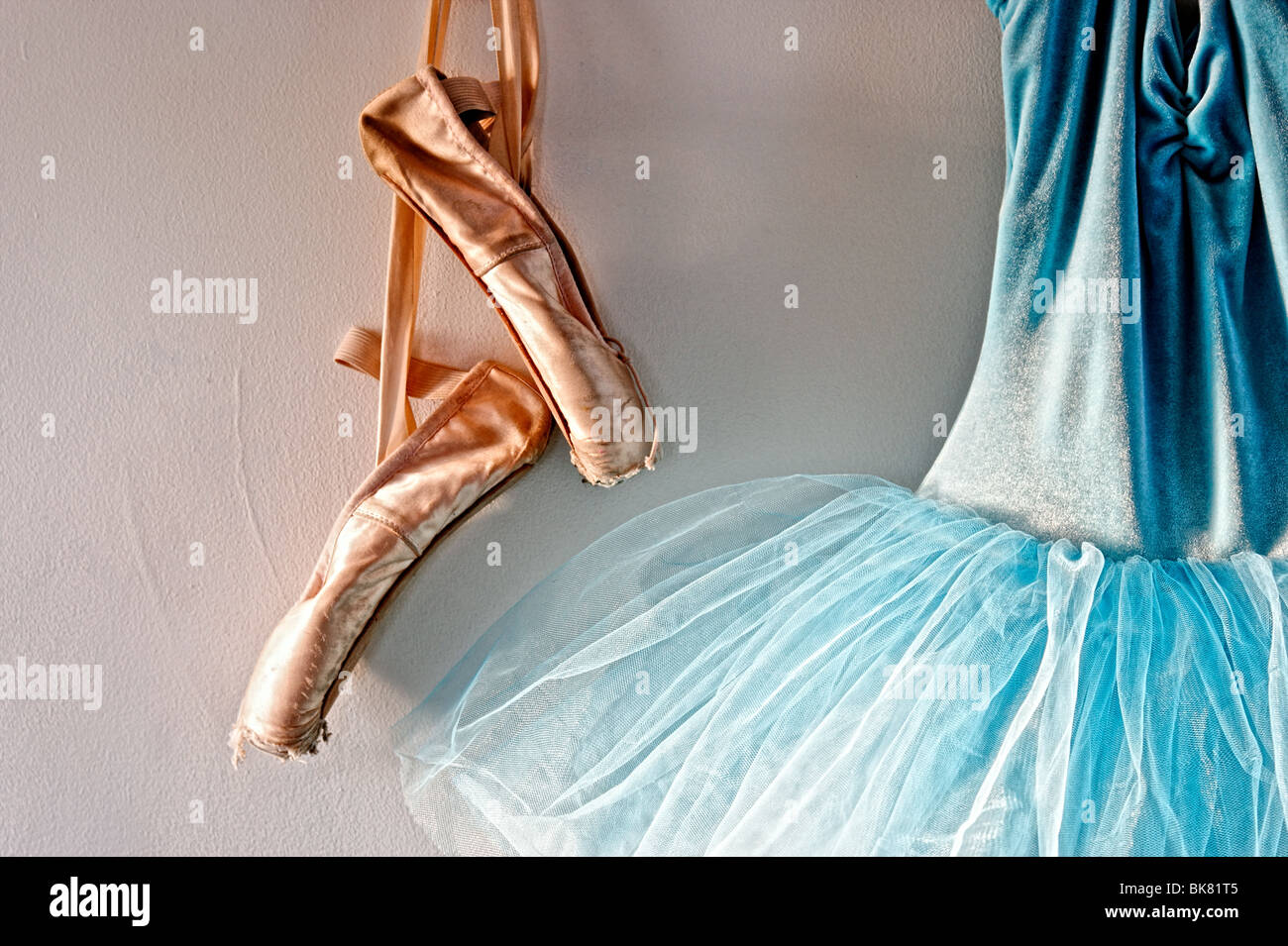 7a11b90e35b2 a blue velvet romantic tutu is hanging on a wall beside a worn pair of ballet  pointe shoes