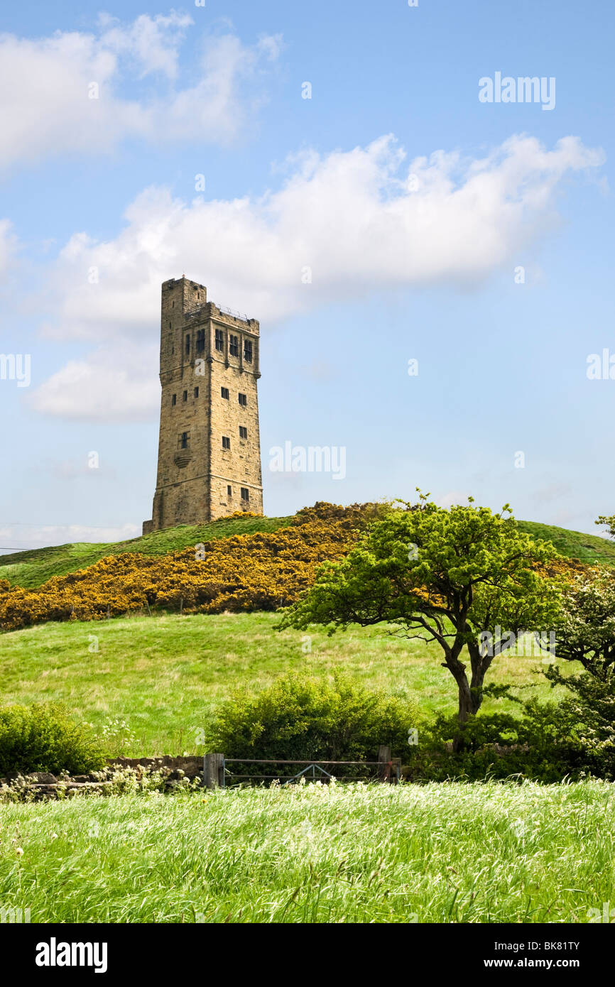The Victoria Jubilee Tower at Castle Hill, Huddersfield, West Yorkshire UK - Stock Image