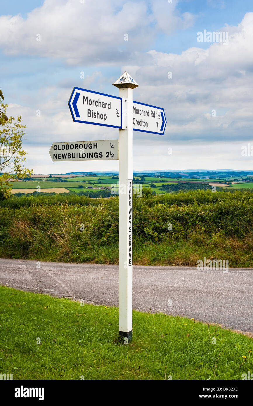 Road Sign - Devon countryside - Stock Image