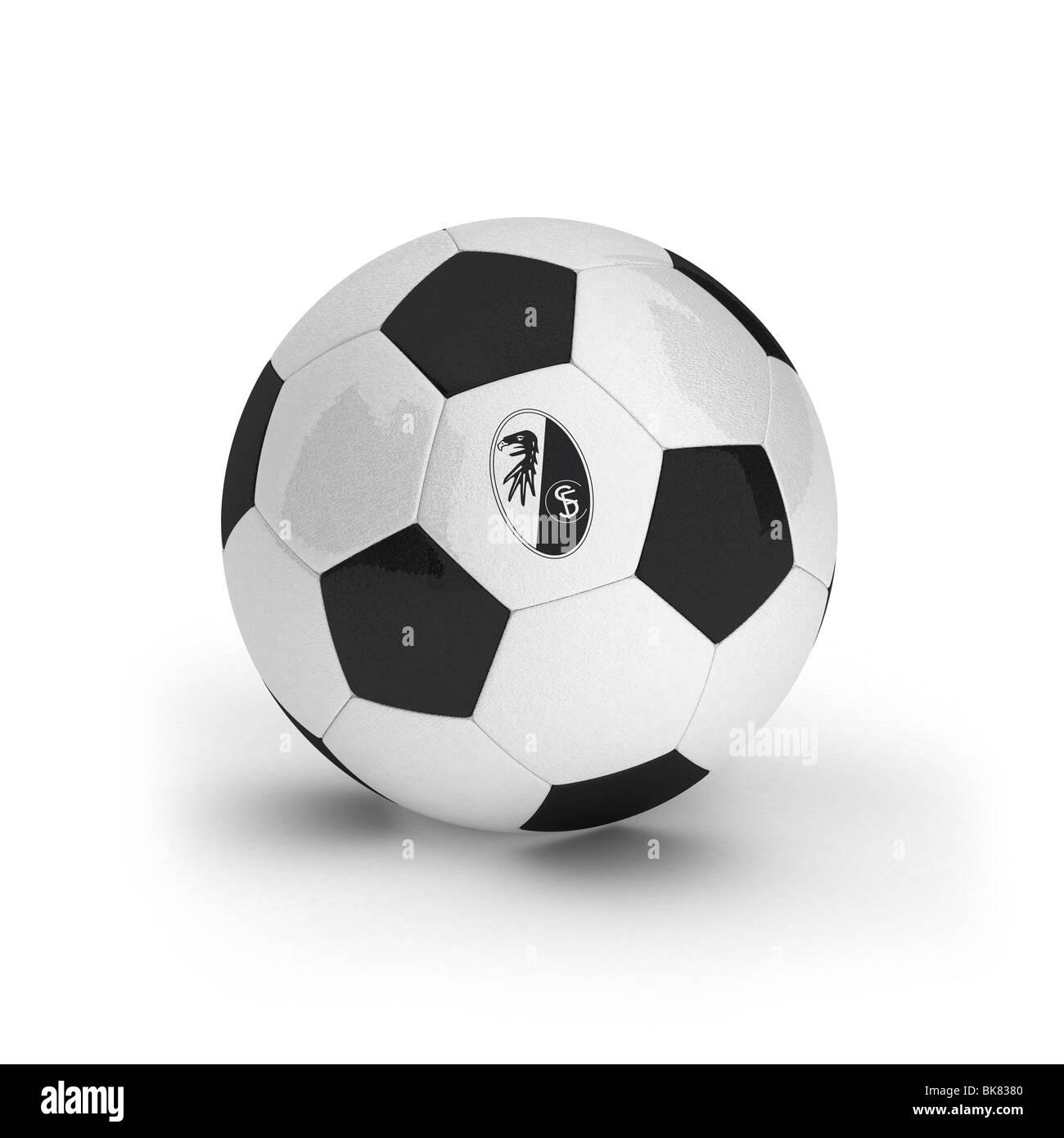 SC Freiburg emblem on a soccer ball - Stock Image