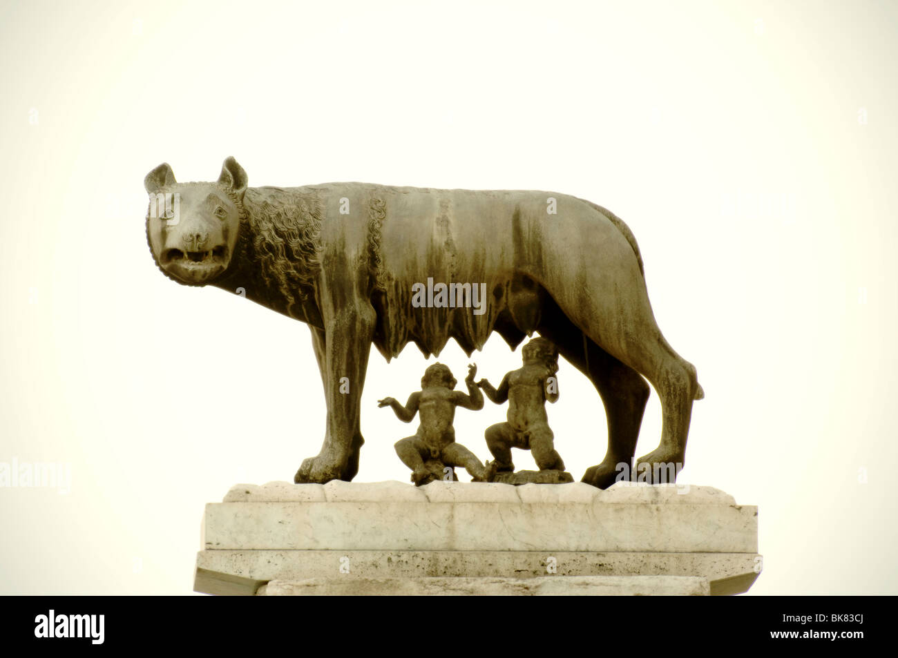 Bronze statue of the Capitoline she-wolf - Stock Image