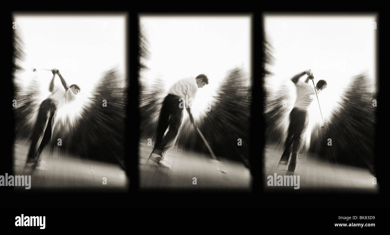 A series of three images capturing three distinct moments of a golf swing. - Stock Image
