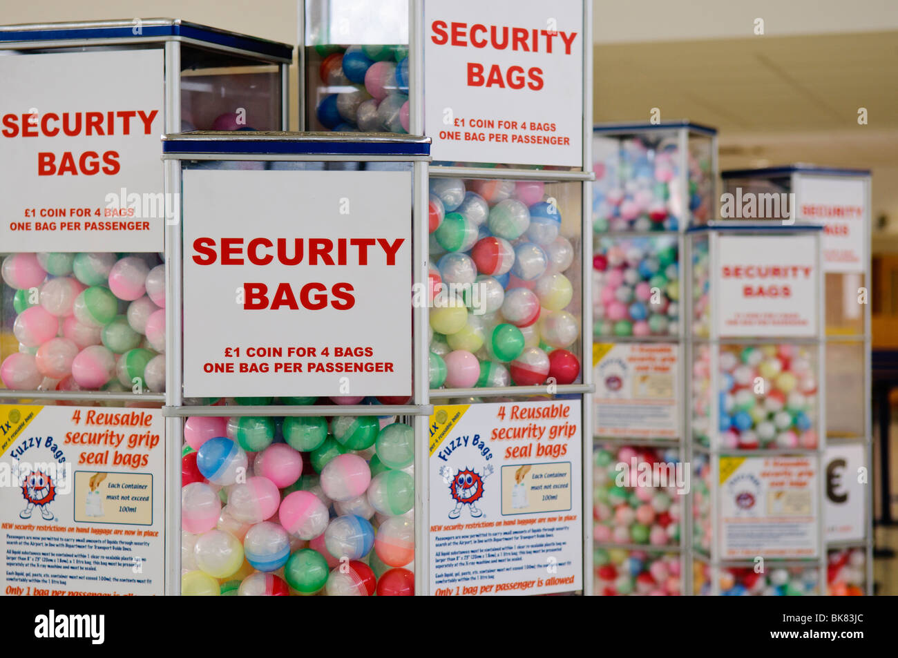 Vending machines dispensing security bags for liquids at an airport Stock Photo