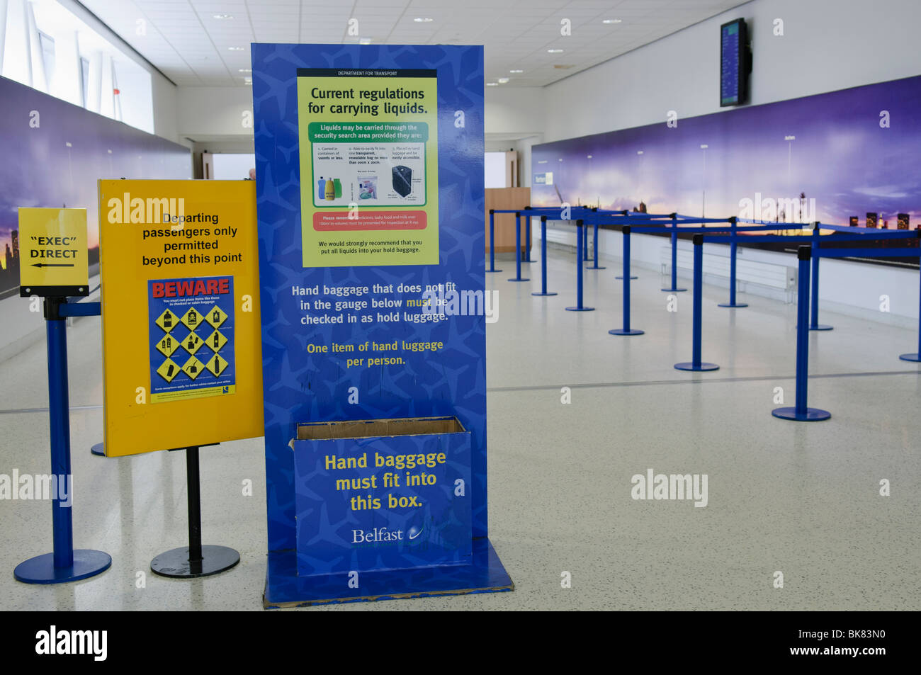 Signs At Approach To Airport Security Warning Passengers