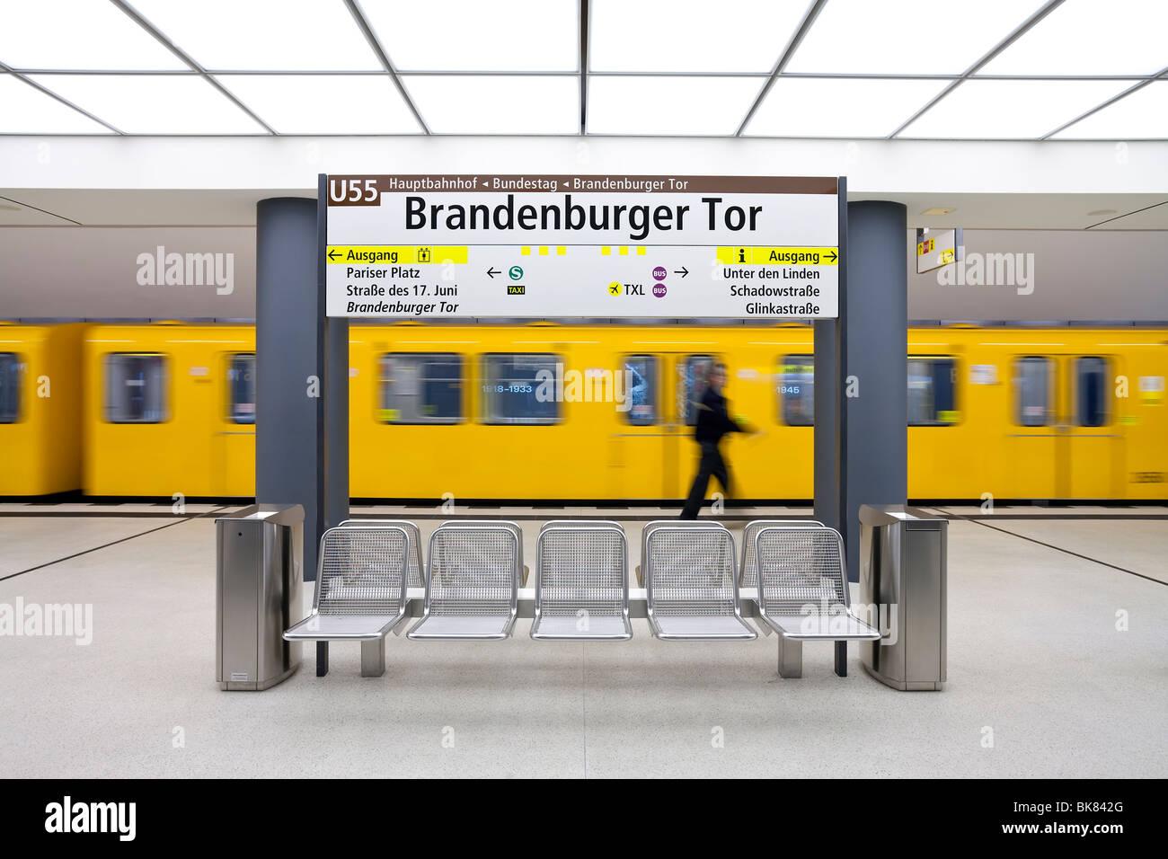 Europe, Germany, Berlin, modern futuristic style subway station - Stock Image