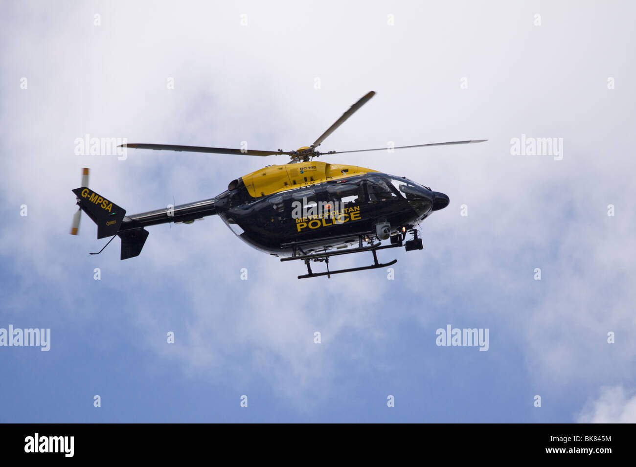 Blue and yellow Metropolitan Police Service (MPS) Eurocopter