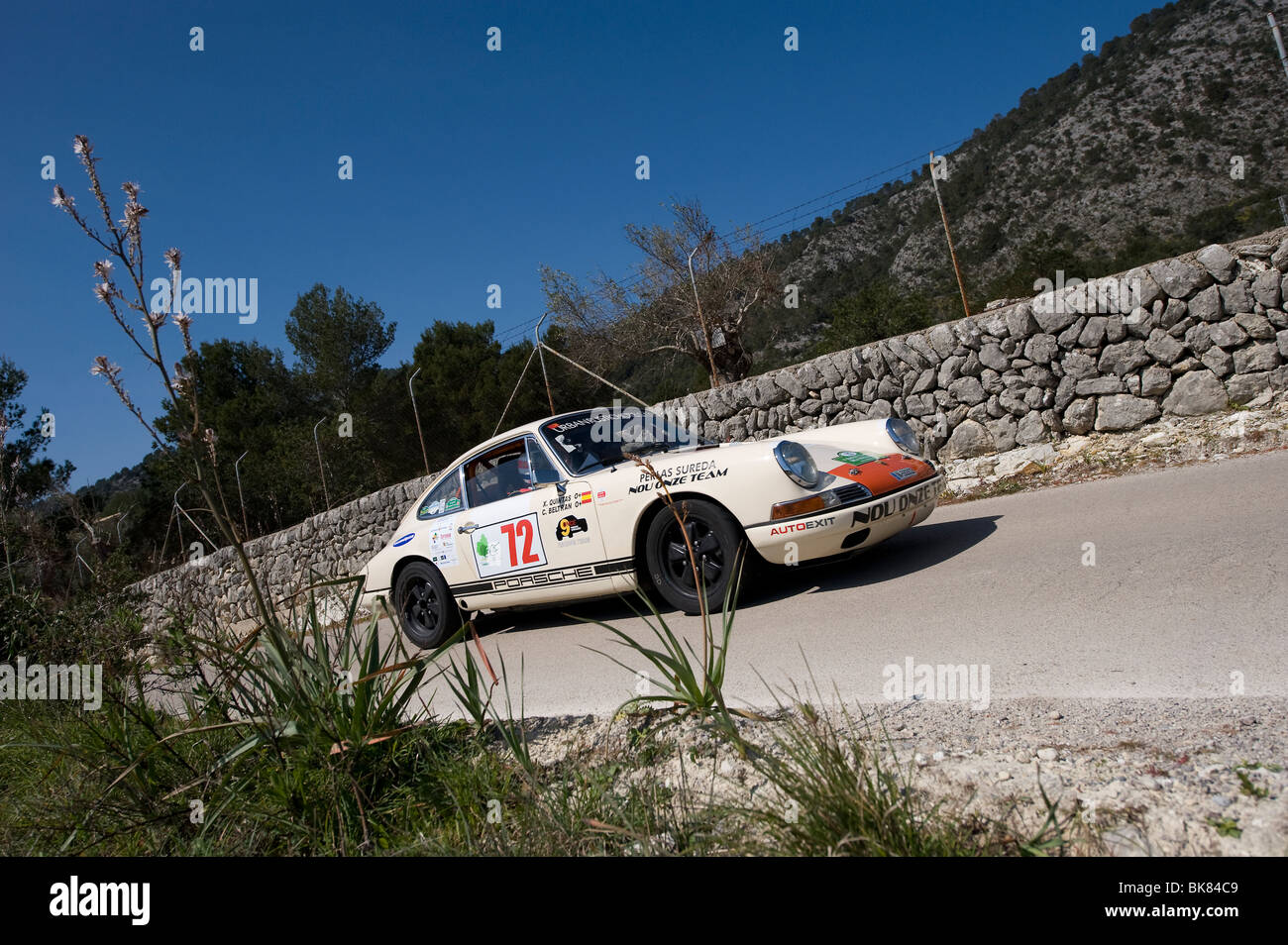 White 1966 Porsche 911S Taking Part In A Classic Car Rally Spain