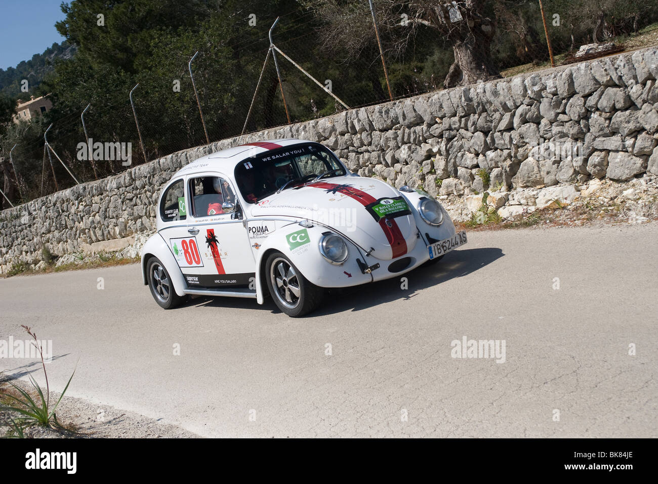 19665 VW beetle taking part in a classic car rally in Spain - Stock Image