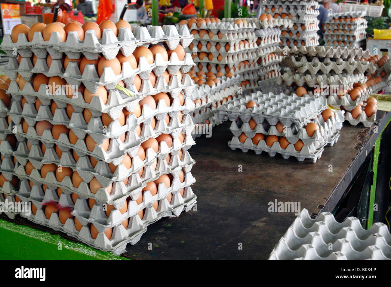 Egg sold in a poultry market - Stock Image