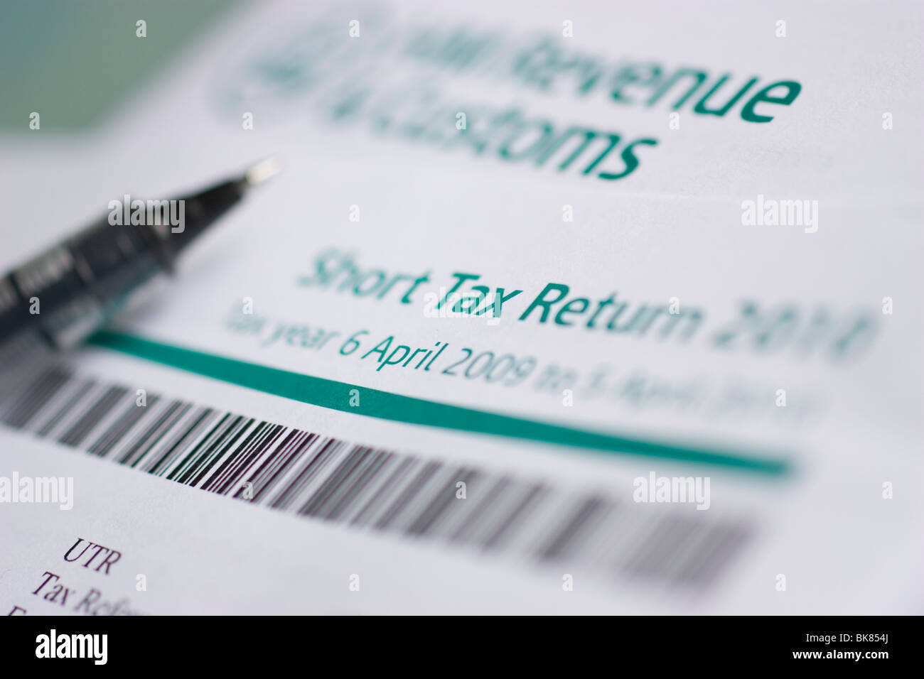 short tax return 2010  customs and revenue - Stock Image