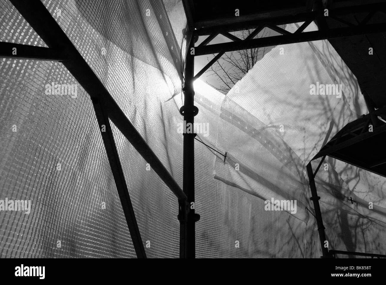 UNDER A SCAFFOLDING - Stock Image