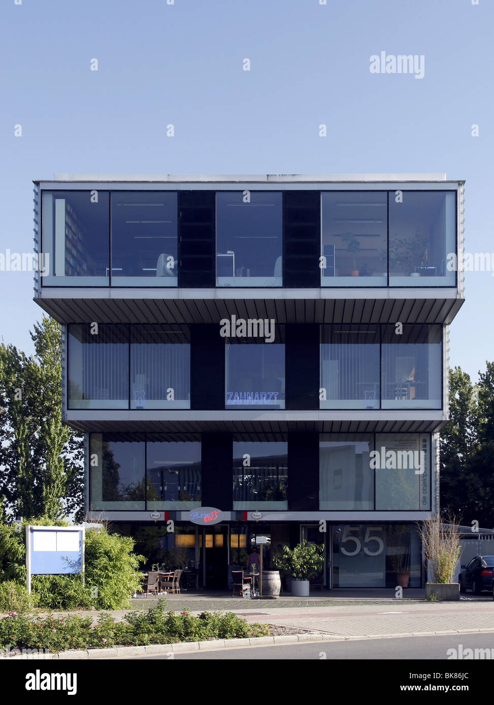 Tiered office building in the business park Stadtkrone Ost, Dortmund, North Rhine-Westphalia, Germany, Europe - Stock Image