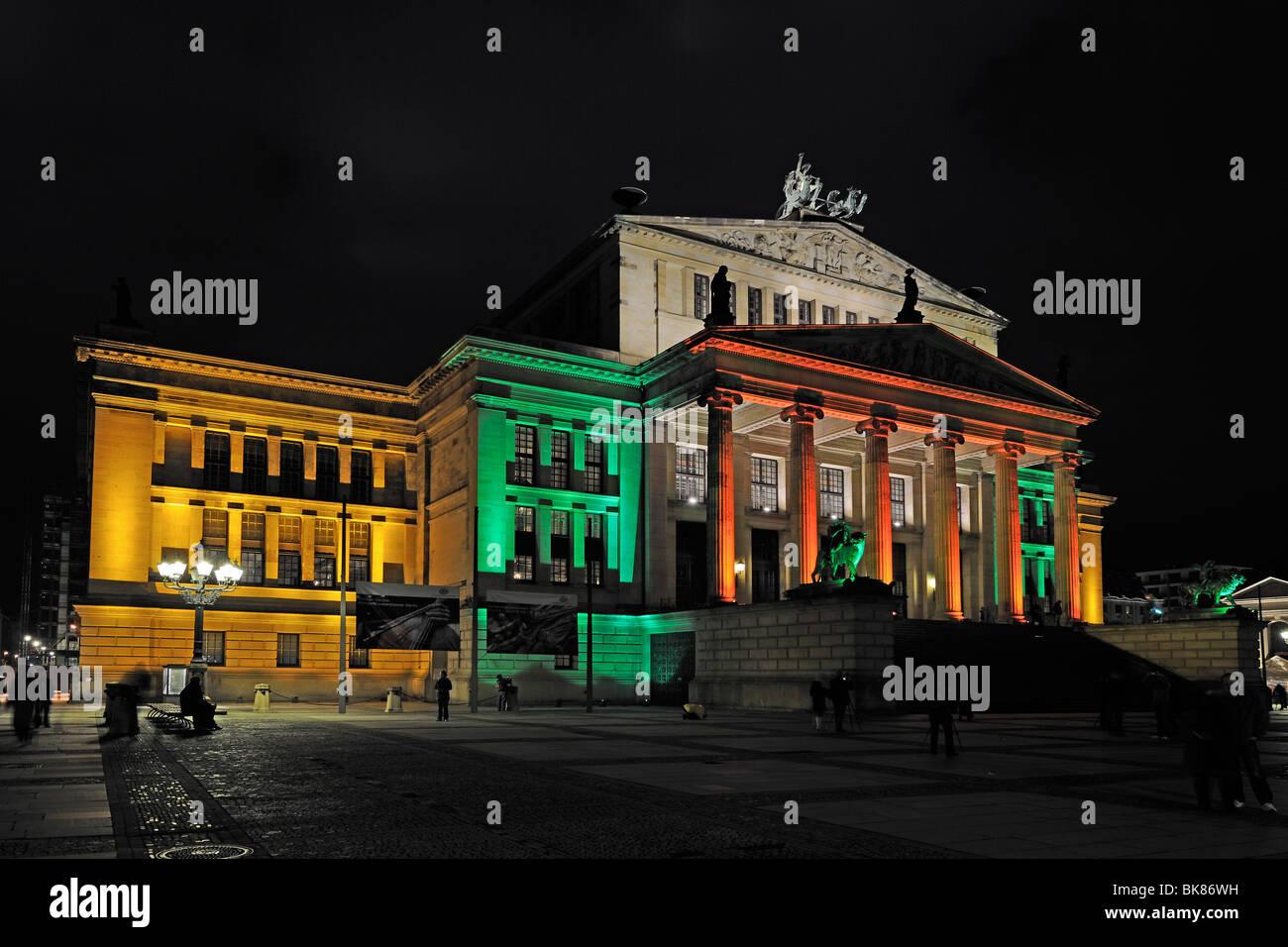 Konzerthaus, Concert Hall, Gendarmenmarkt square, illuminated, Festival of Lights 2009, Berlin, Germany, Europe - Stock Image