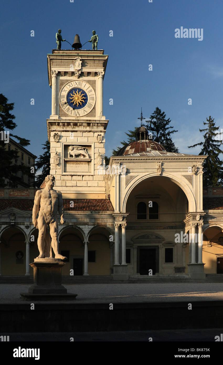 Clock tower, Torre dell'Orologio, Piazza Libertà, Udine, Friuli-Venezia Giulia, Italy, Europe - Stock Image