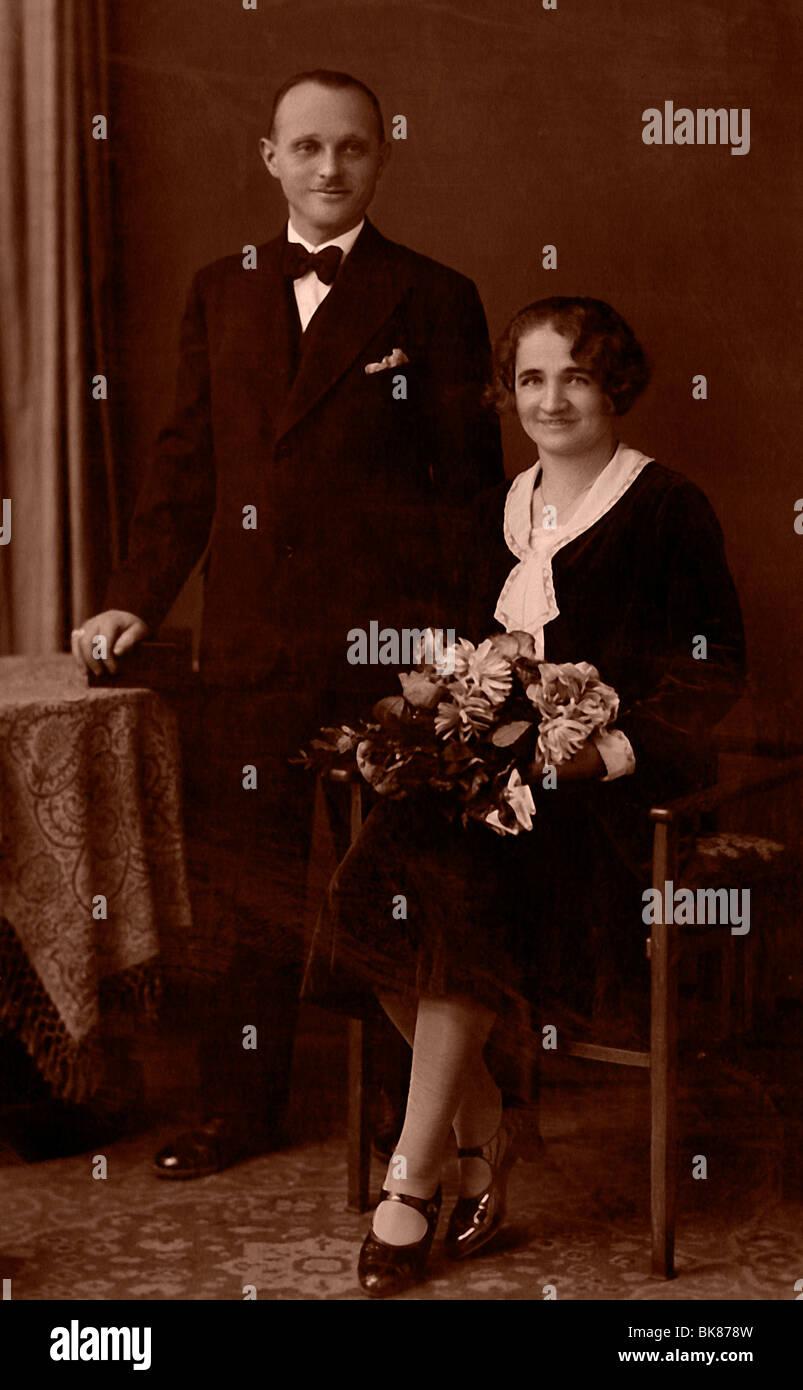 Bridal couple, historical photograph, around 1930 - Stock Image