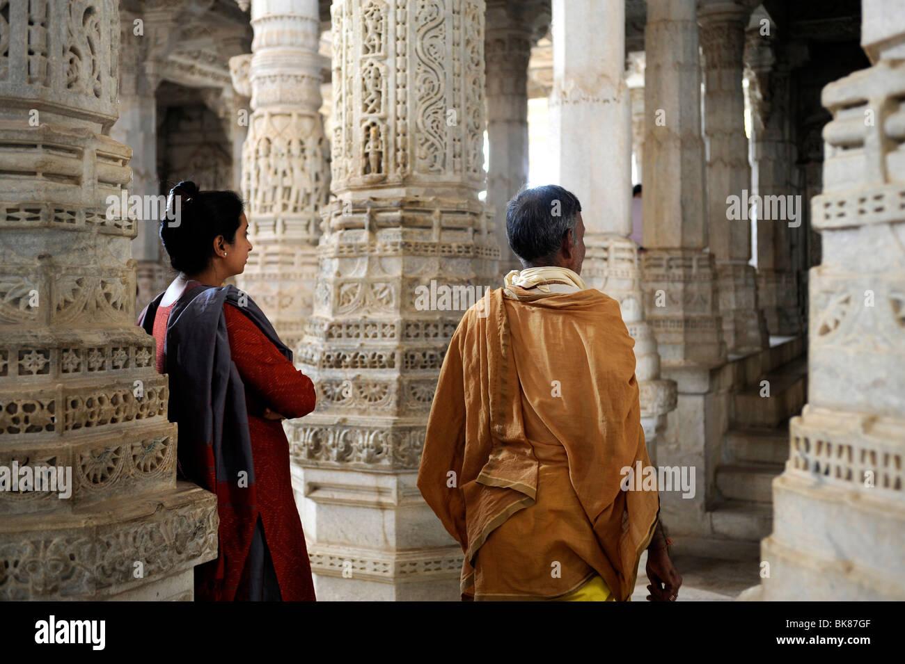 Seth Anandji Kalayanji Pedhi, Jain temple complex, Indian visitors in Adinatha Temple, Ranakpur, Rajasthan, North - Stock Image