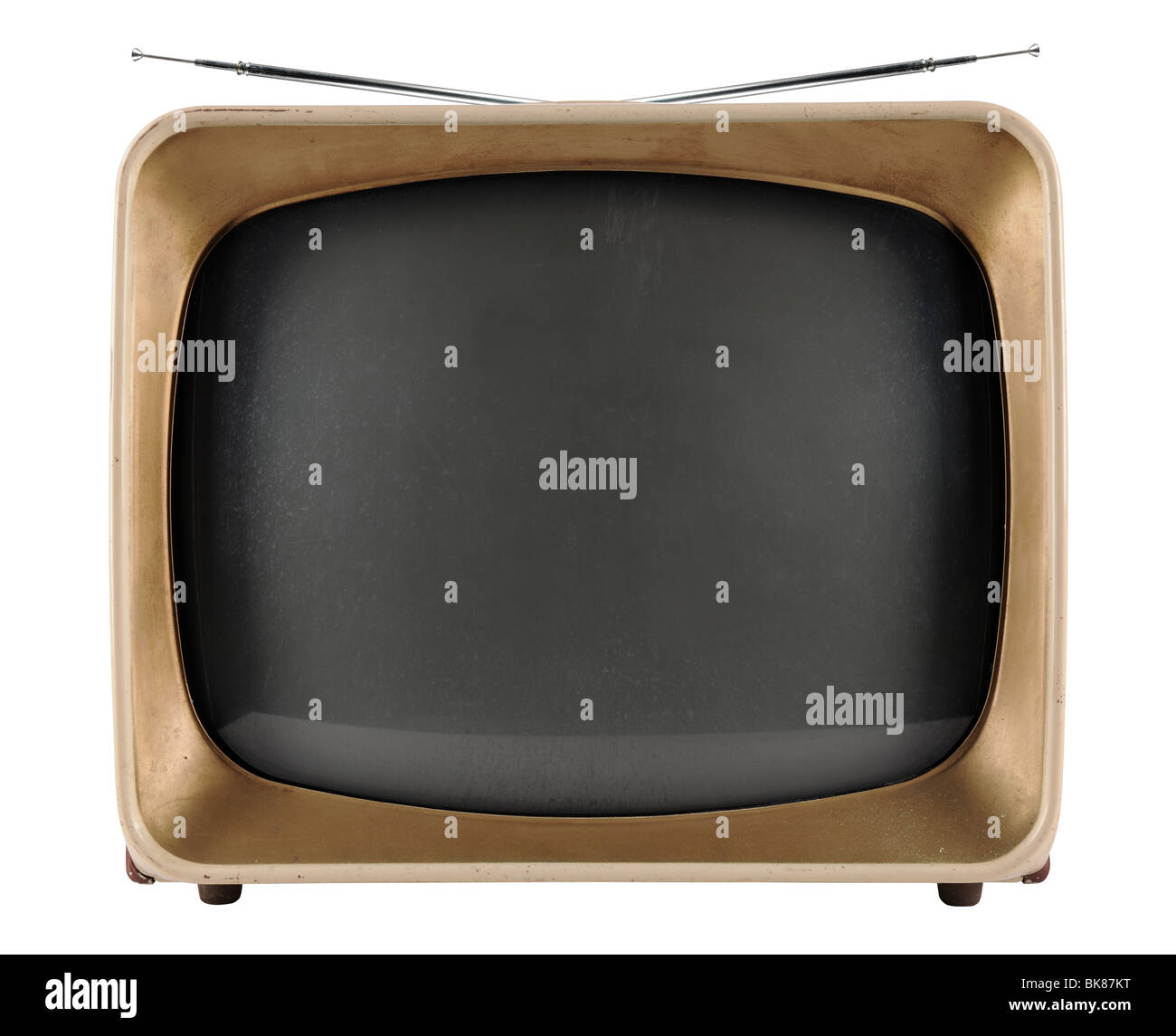 Vintage TV from the 1950s isolated over white background - With Clipping Path - Stock Image
