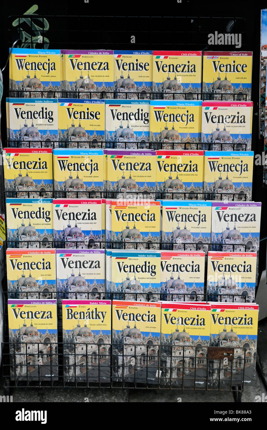 Tourist guide books for Venice in different languages, Venice, Veneto, Italy, Europe - Stock Image