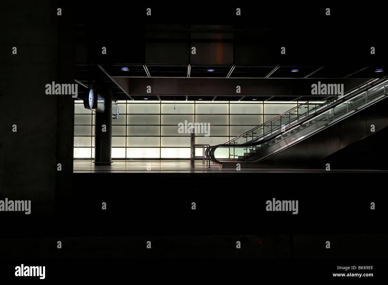 Escalator in a railway station, Berlin Germany - Stock Image