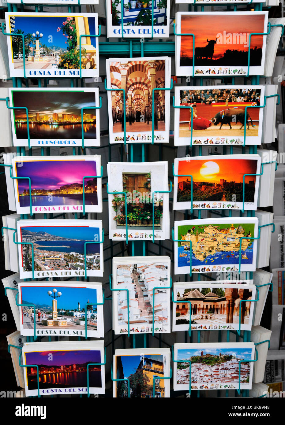 Postcards from the Costa del Sol in Fuengirola, Spain, Europe - Stock Image