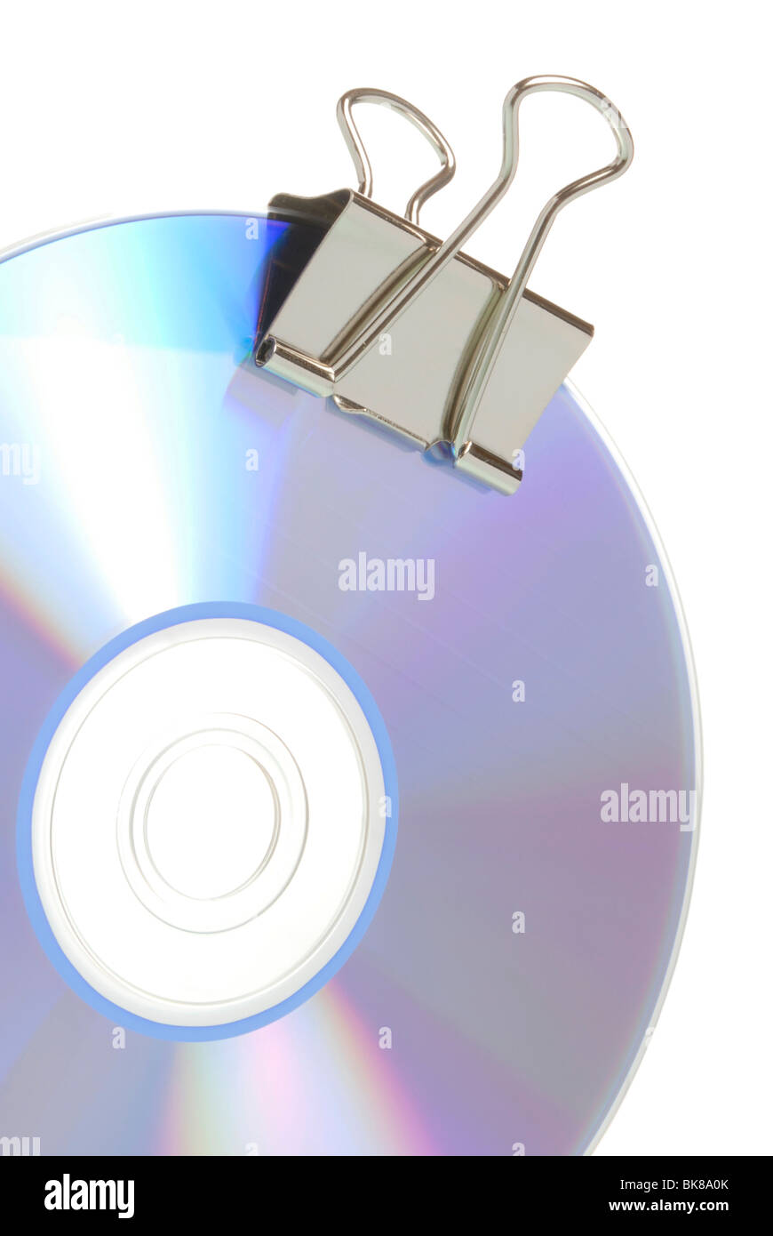 CD and a chrome clip - Stock Image