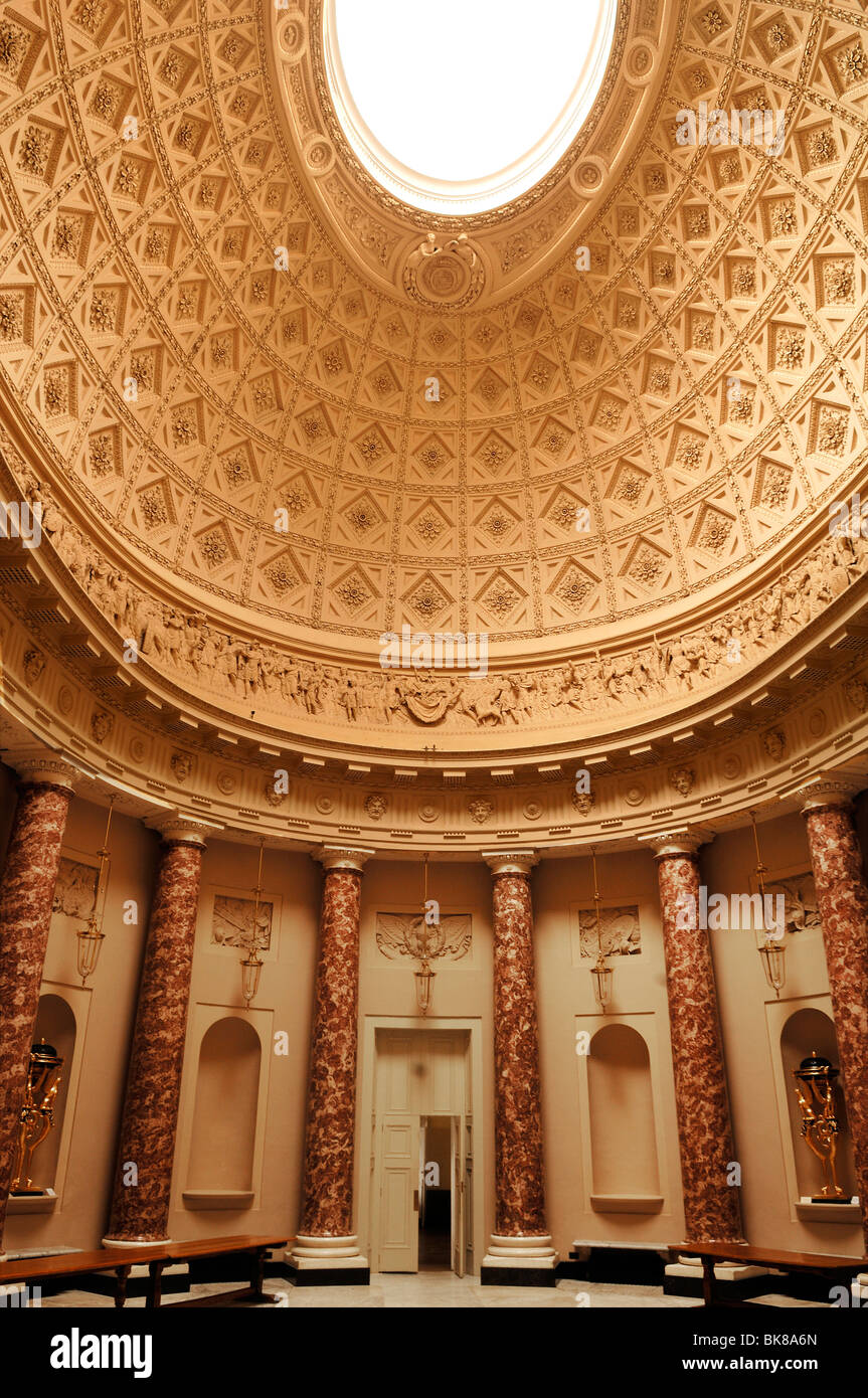 Decorative lobby with dome, detail of Stowe School, private school since 1923, architecture from 1770, Classicism, Stock Photo