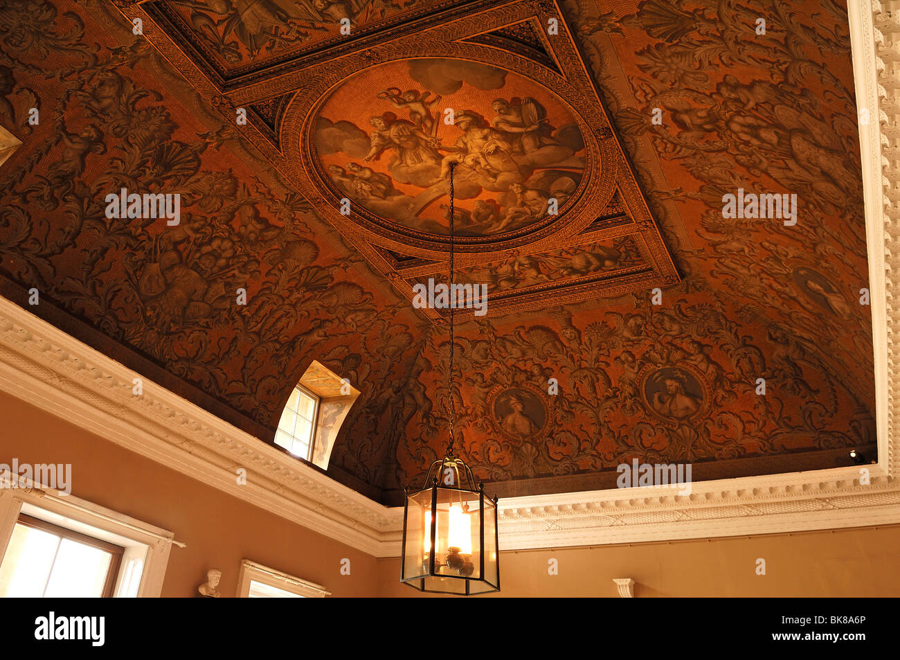 Ceiling painting in the entrance of Stowe School, private school since 1923, architecture from 1770, Classicism, Stock Photo