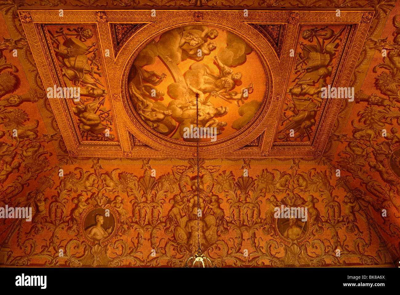 Ceiling painting in the entrance of Stowe School, private school since 1923, architecture from 1770, Classicism, - Stock Image