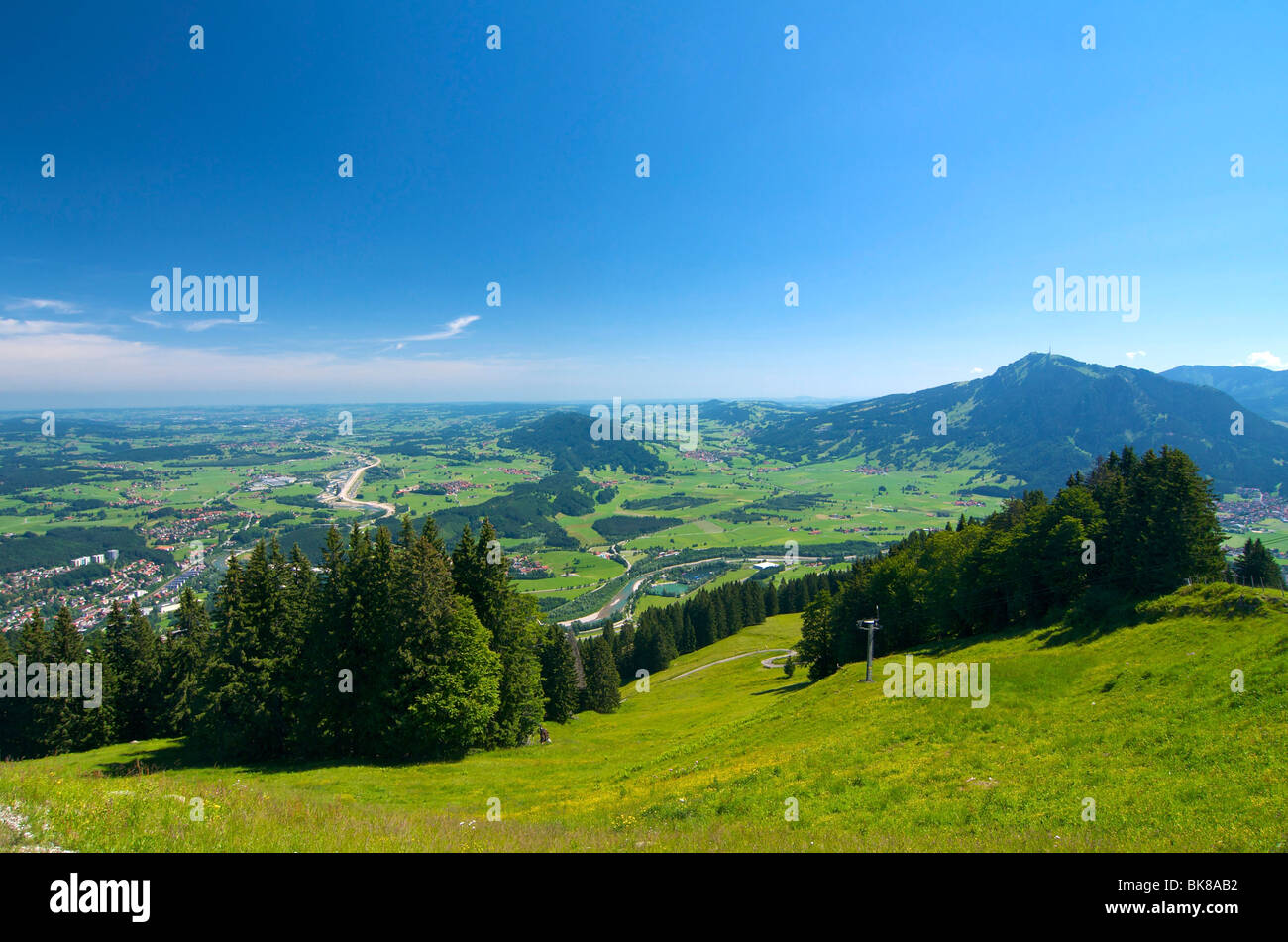View at midday from Gruenten Mountain, Allgaeu, Bavaria, Germany, Europe Stock Photo
