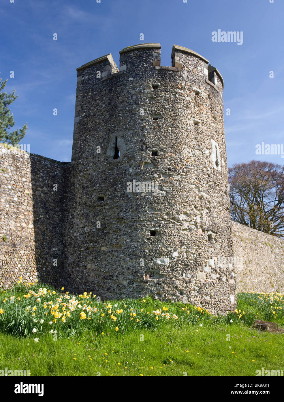 Canterbury's city wall and watch tower in Canterbury, Kent, UK. - Stock Image
