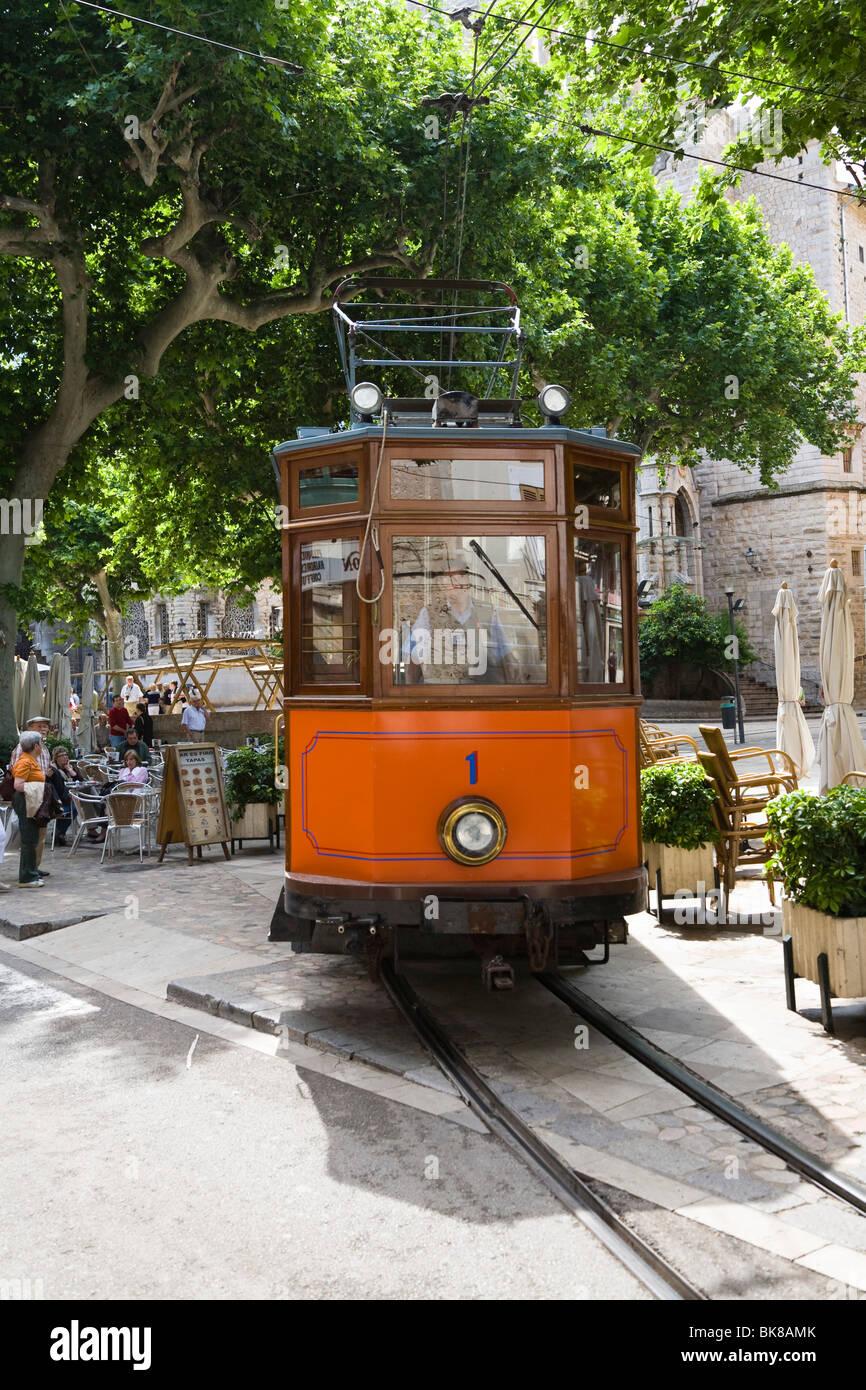 Nostalgic train Red Flash in Sóller, Mallorca, Majorca, Balearic Islands, Spain, Europe Stock Photo