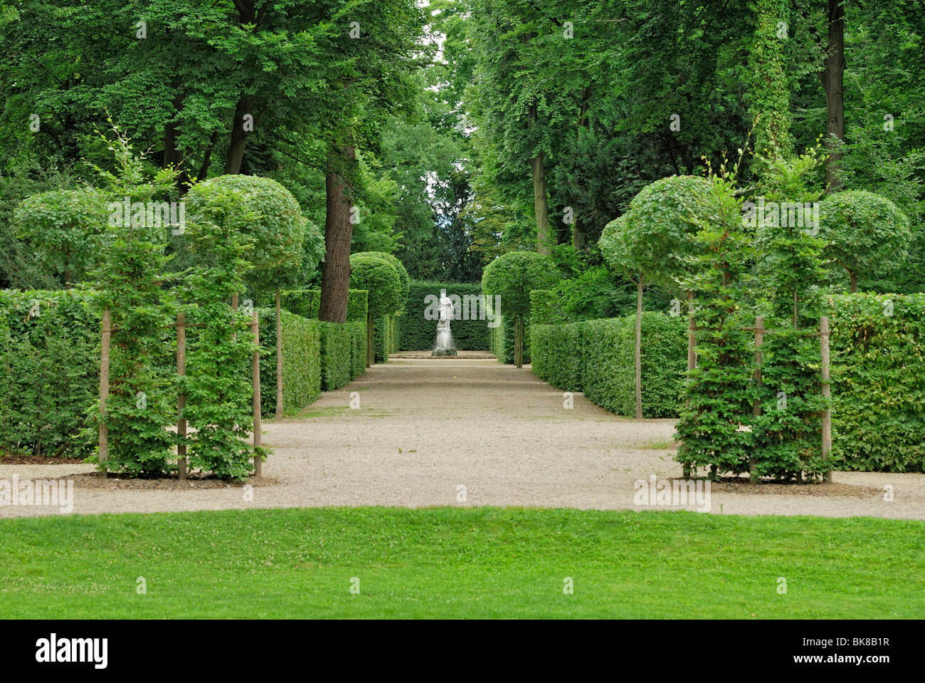 Hedges and trees clipped in form, baroque garden, Schloss Schwetzingen Castle, Baden-Wuerttemberg, Germany, Europe - Stock Image