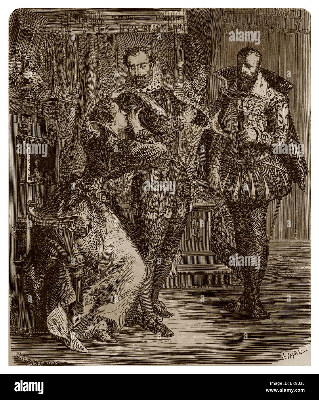 Towards 1594, Gabrielle d' Estrées, King Henry IV of France and the Duke of Sully in the room of the Duchess. - Stock Image