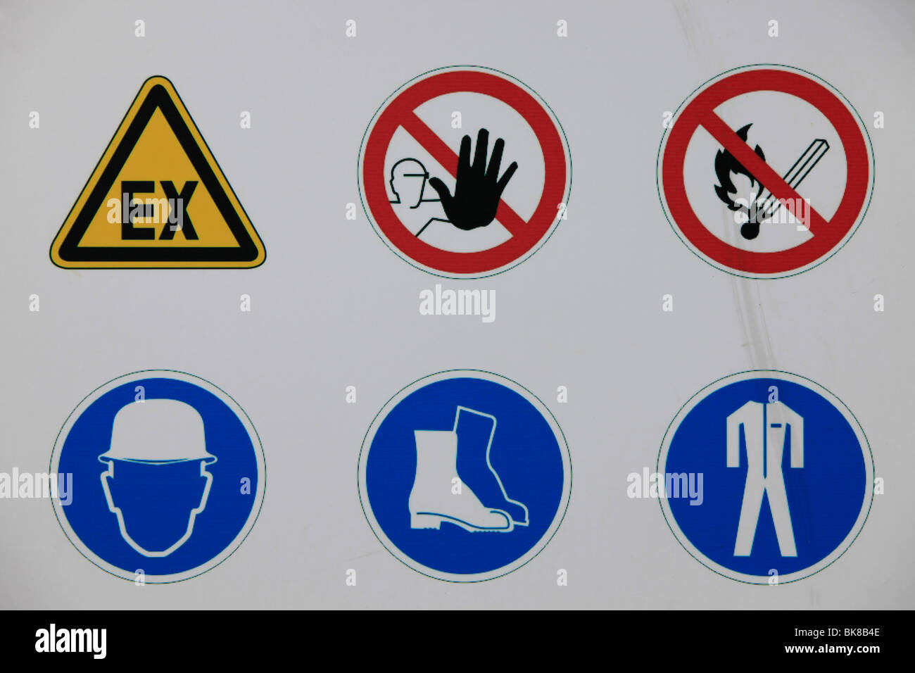 Sign for prohibitions and requirements in a heavy industry plant - Stock Image
