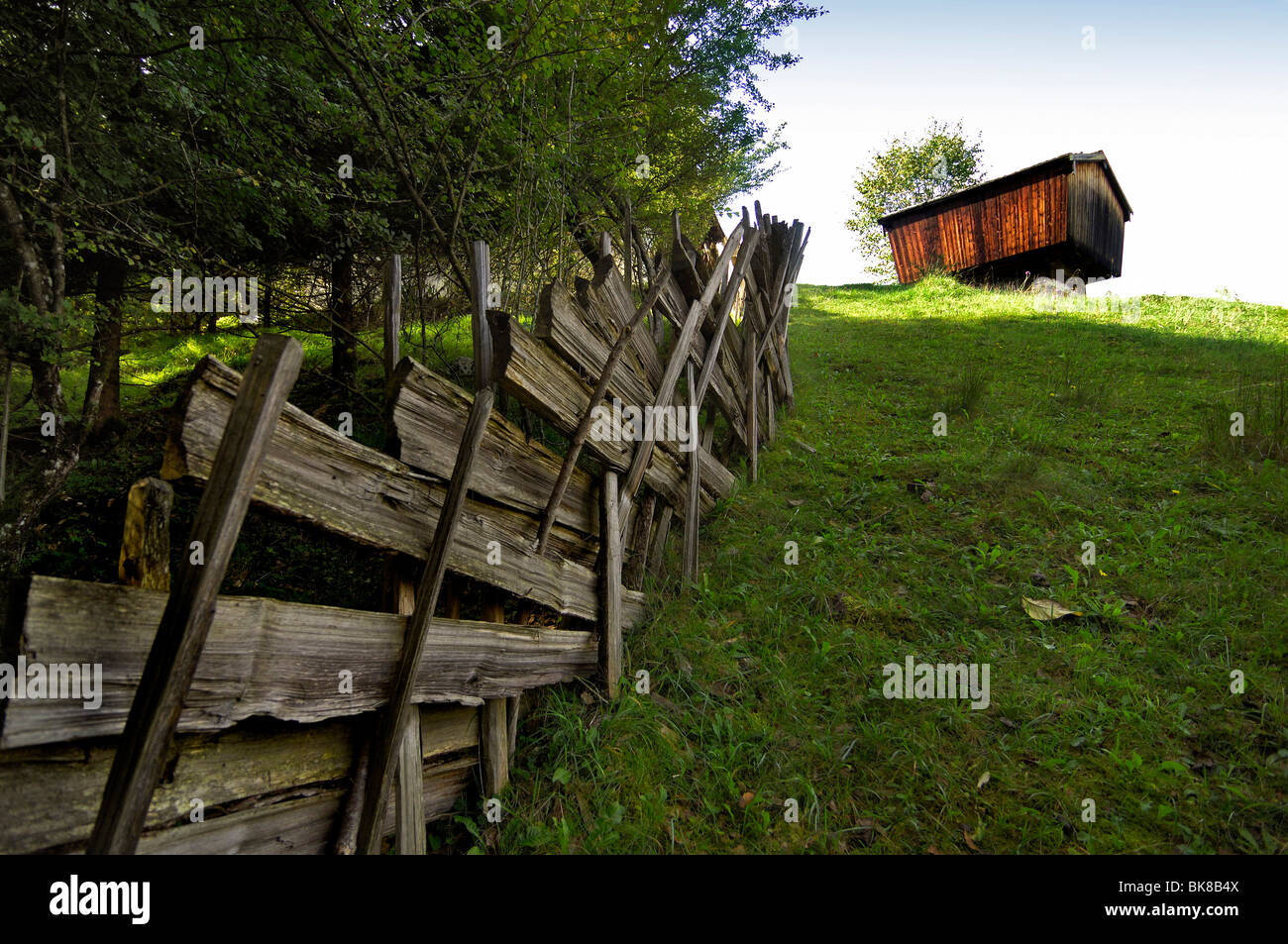 Wooden fence, granary from Ramsau, Glentleiten open-air museum, Bavaria, Germany, Europe - Stock Image
