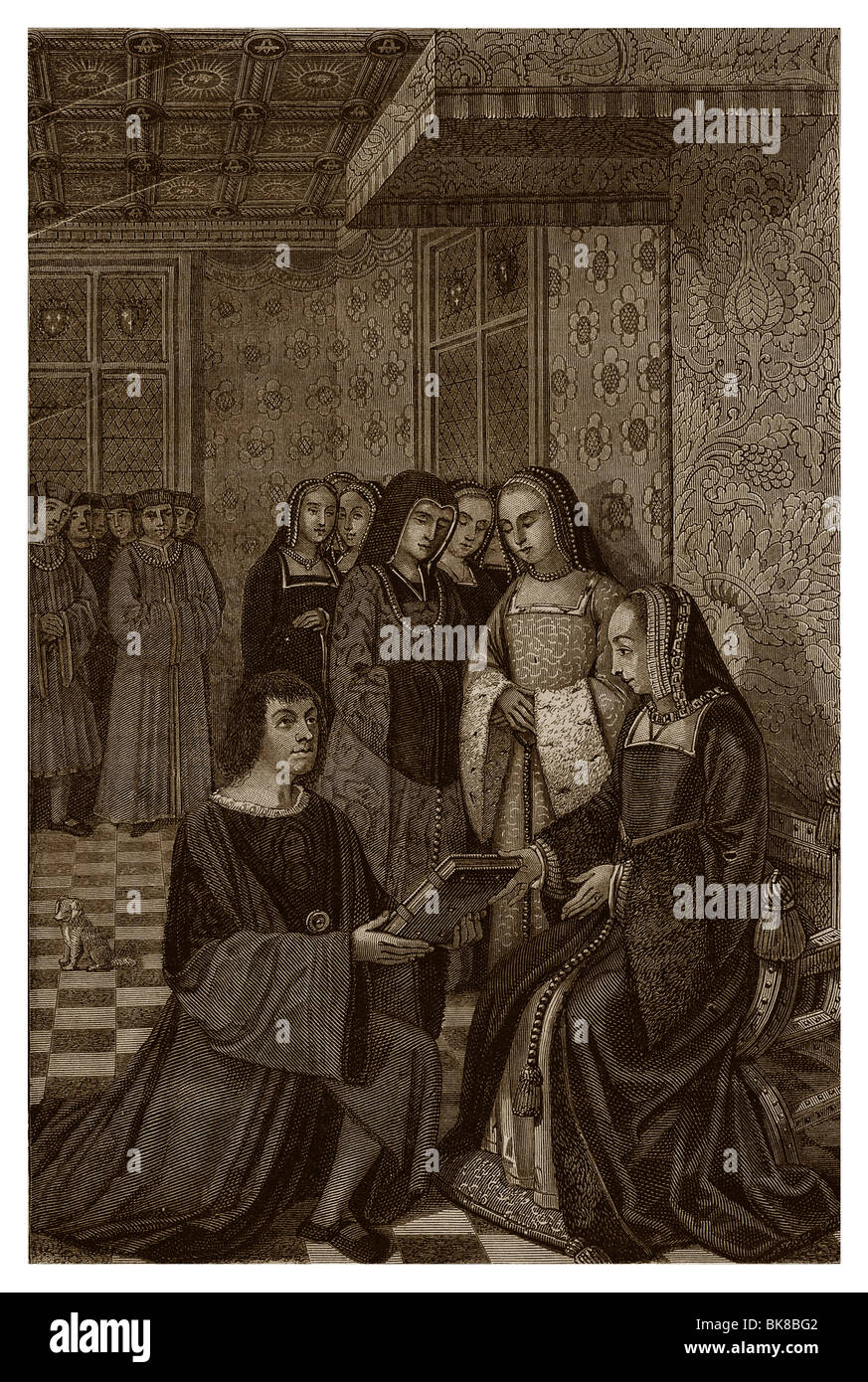 In the 16th century, in the château de Blois, Anne of Brittany in her parade room receiving a volume of poems - Stock Image