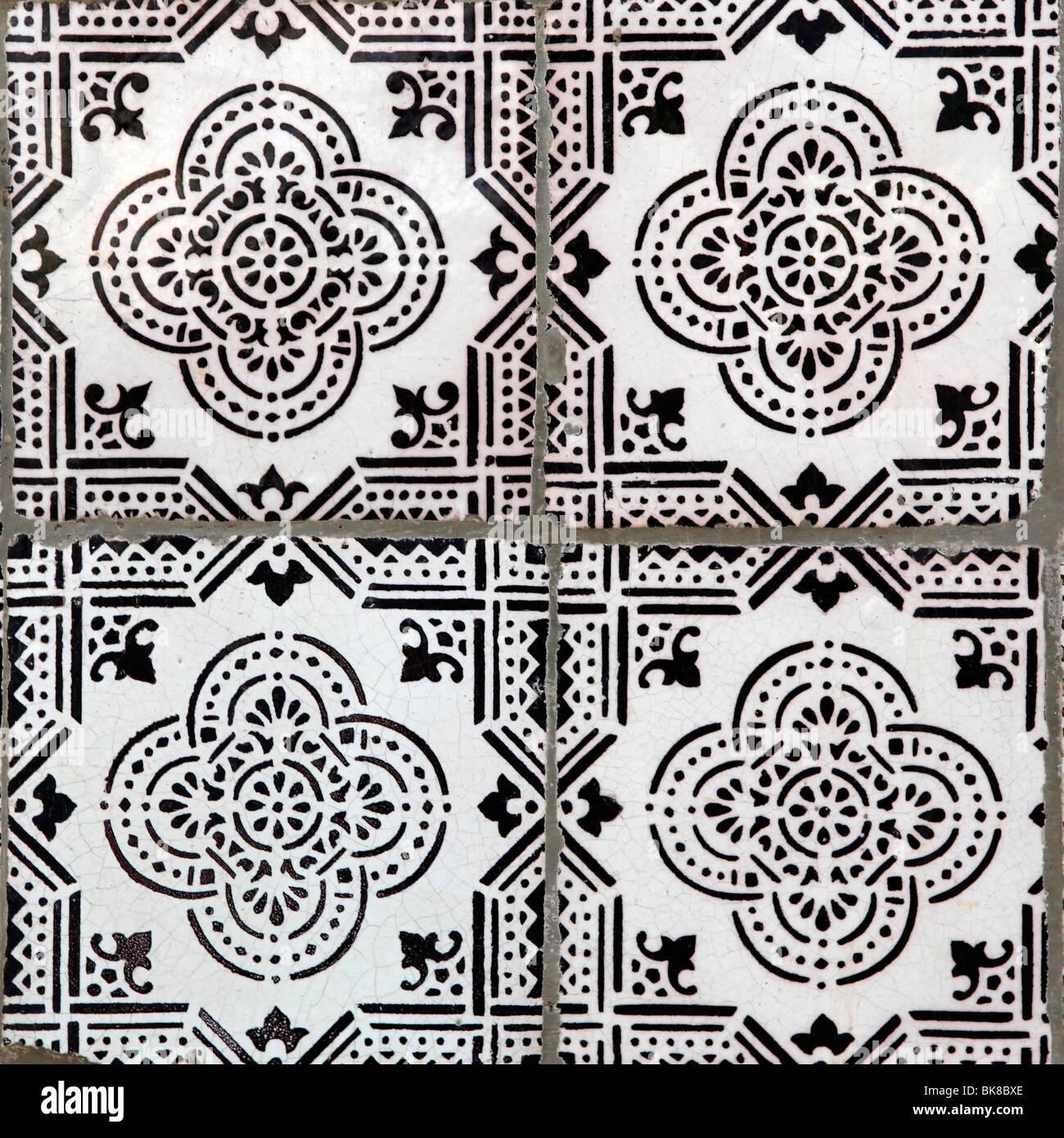 Azulejos tiles front façade building Lisbon Portugal Europe - Stock Image