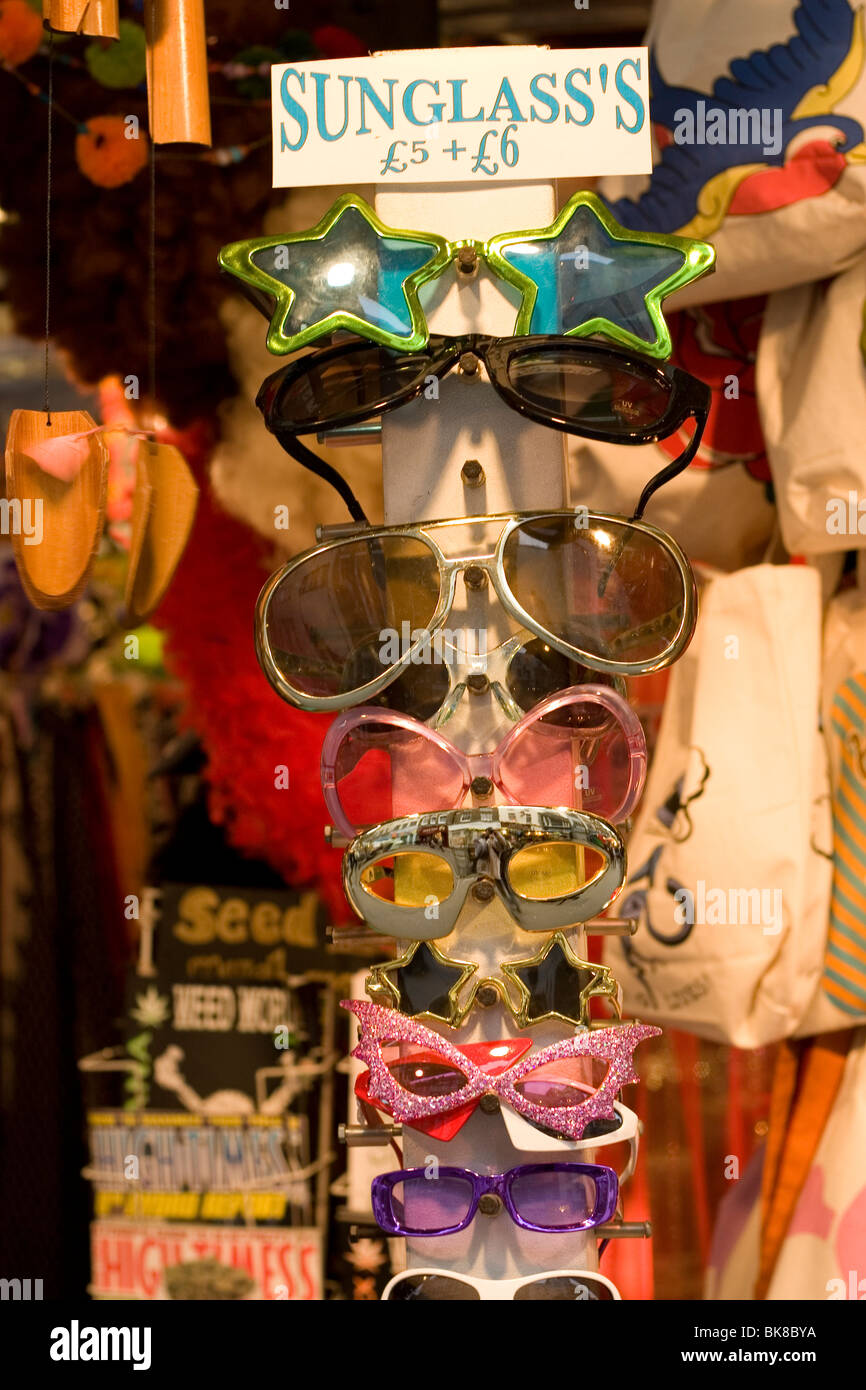 Comical sunglasses for sale at a London market. - Stock Image