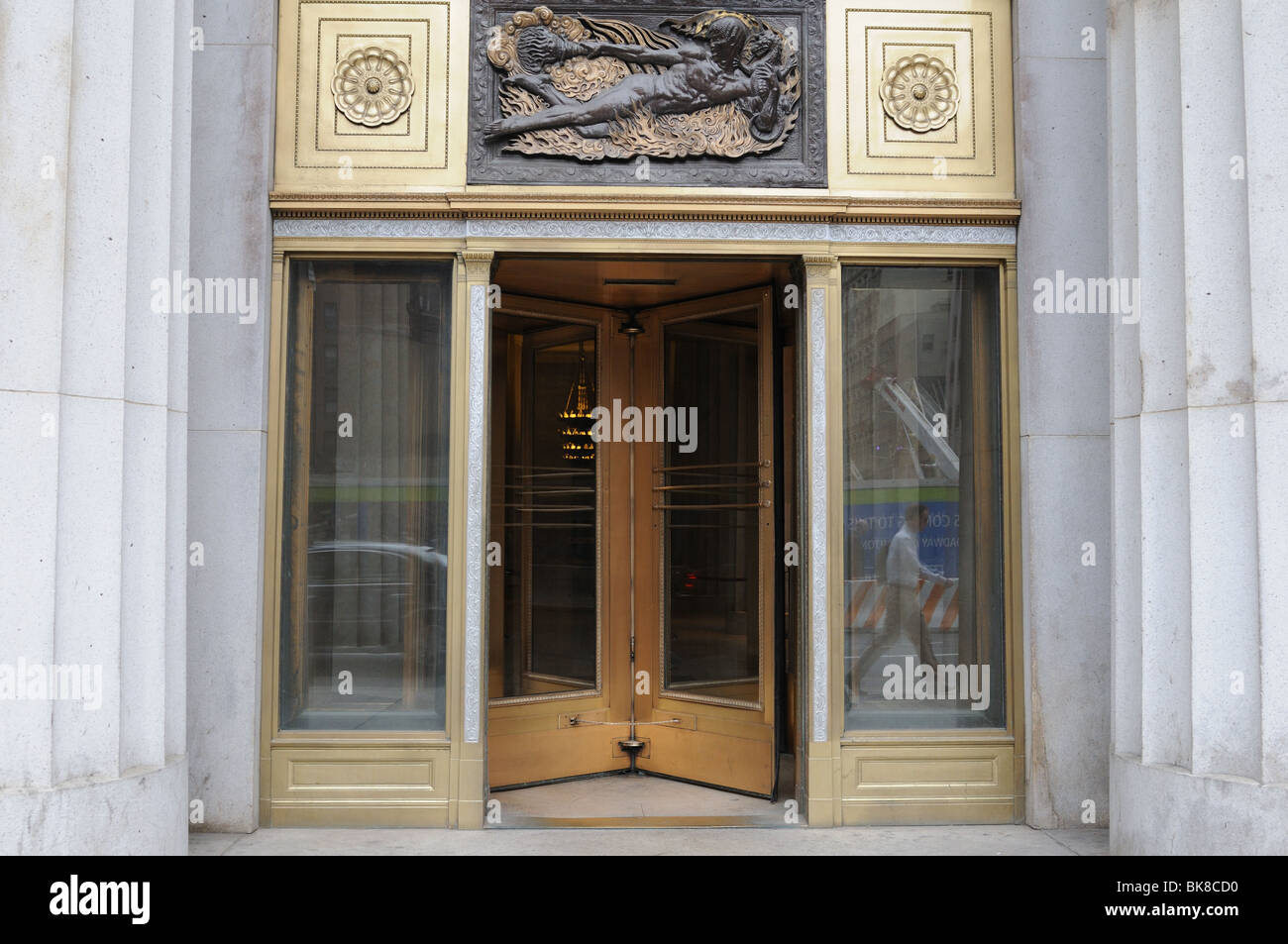 A revolving door at 195 Broadway in Manhattan the headquarters of the American Telephone and Telegraph Co. from 1916 to 1983. & A revolving door at 195 Broadway in Manhattan the headquarters of ...