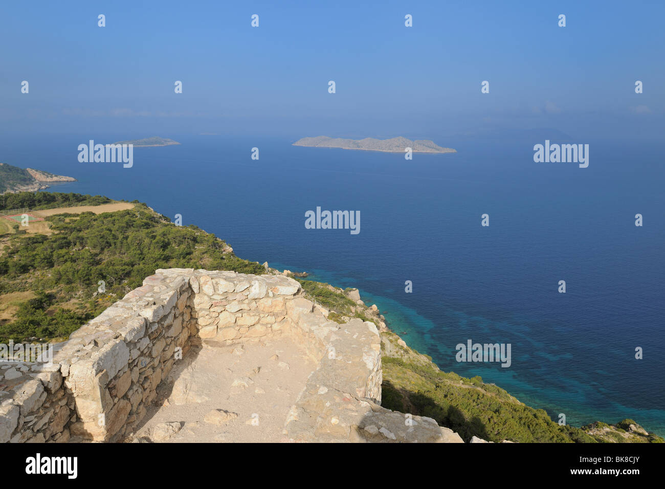View from the castle ruins of Kámiros, Rhodes, Greece, Europe Stock Photo