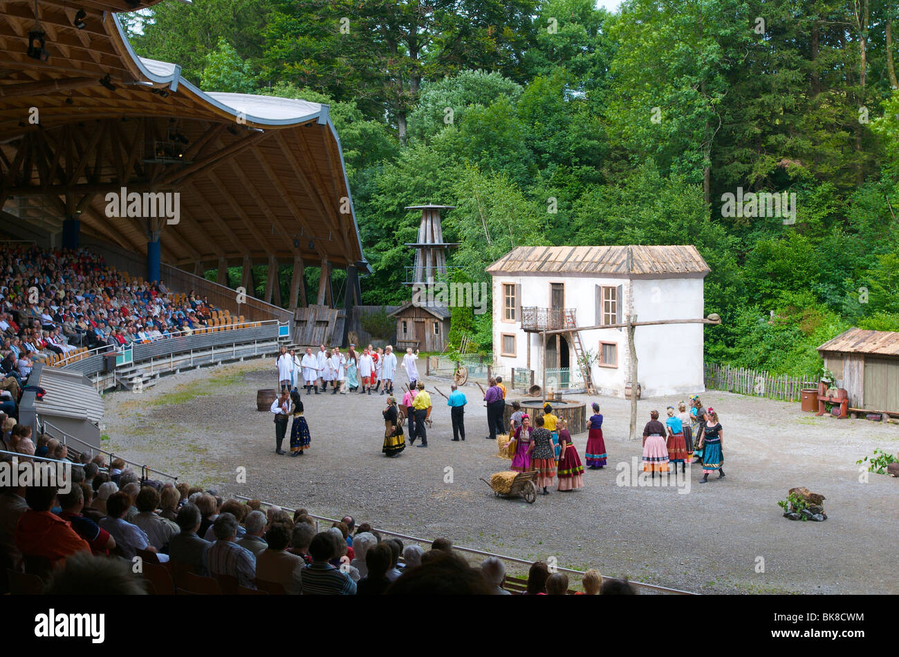 Open-air stage in Altusried, Allgaeu, Bavaria, Germany, Europe - Stock Image