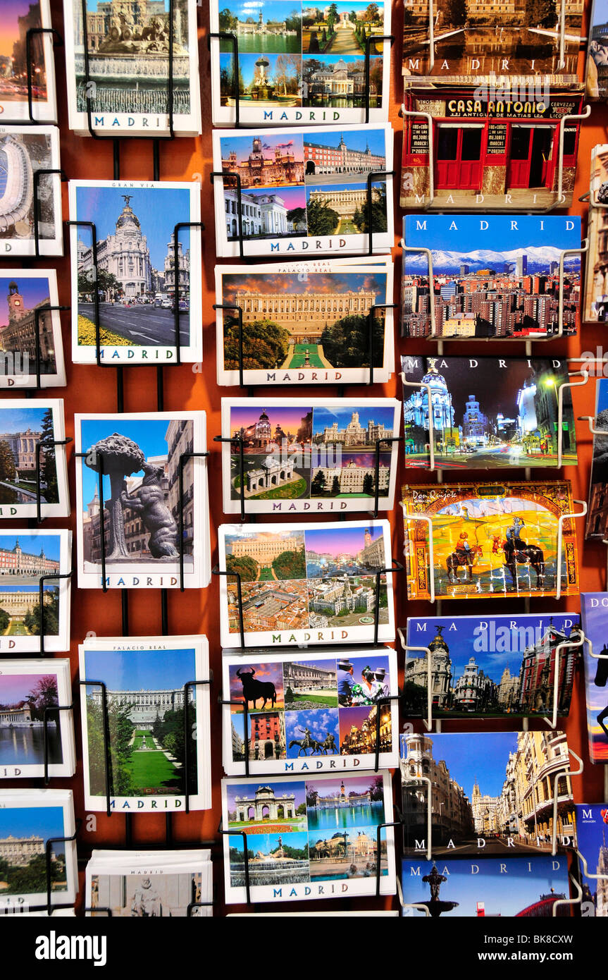 Postcards in a stationery shop, Madrid, Spain, Iberian Peninsula, Europe - Stock Image