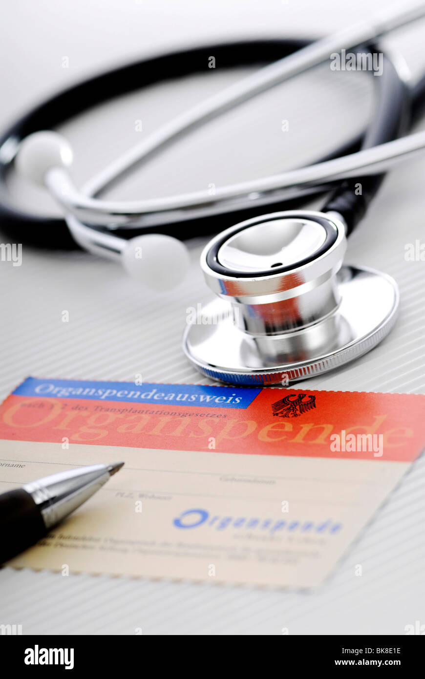 Organ donor card and stethoscope Stock Photo