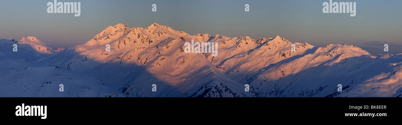 Verwall Alps at sunrise, North Tyrol, Austria, Europe - Stock Image