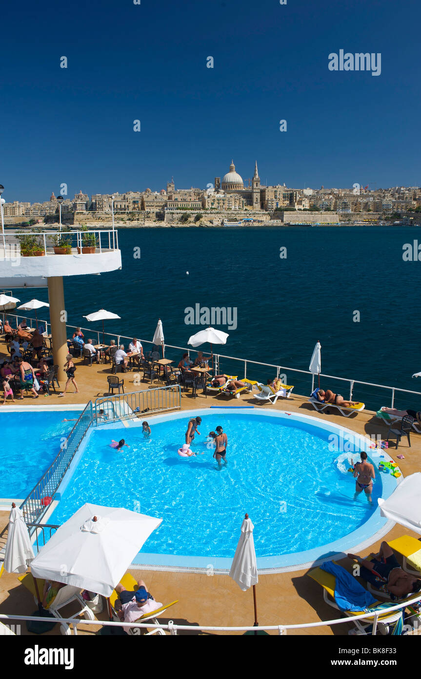 View from a hotel pool in Sliema on Valletta, Malta, Europe - Stock Image
