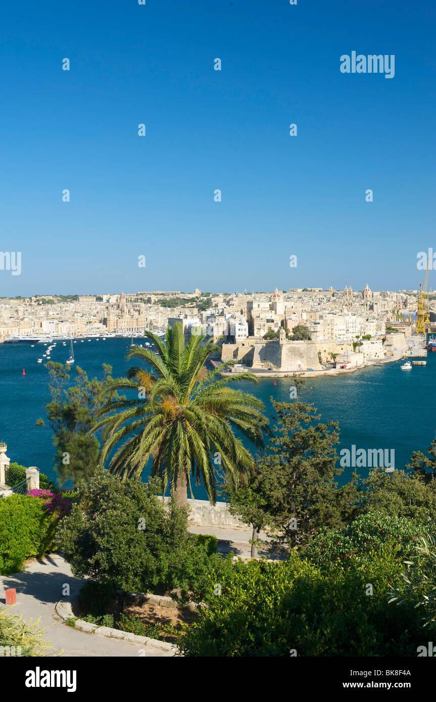 View from Valletta to Vittoriosa, Malta, Europe - Stock Image